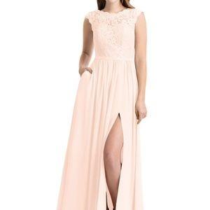 Azazie Arden Long Dress in Pearl Pink